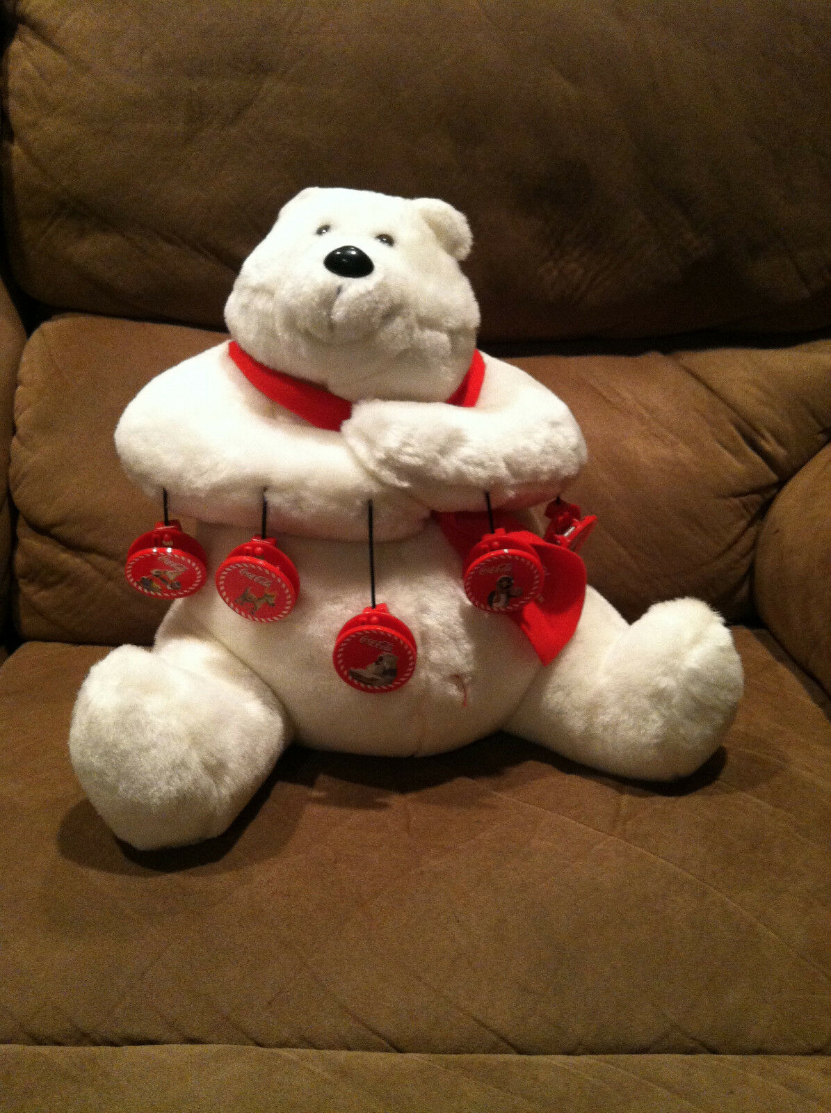 COCA-COLA MR POLAR BEAR W/ ROT SCARF And 5 Magnet CLIPS PLUSH STUFFED ANIMAL 12