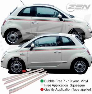 Fiat-500-595-Italian-Side-Stripes-Decals-Stickers-Vinyls-OEM-panel-fit-quality