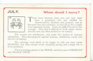 Signs-of-The-Zodiac-Postcard-July-Whom-Should-I-Marry-Ref-468A