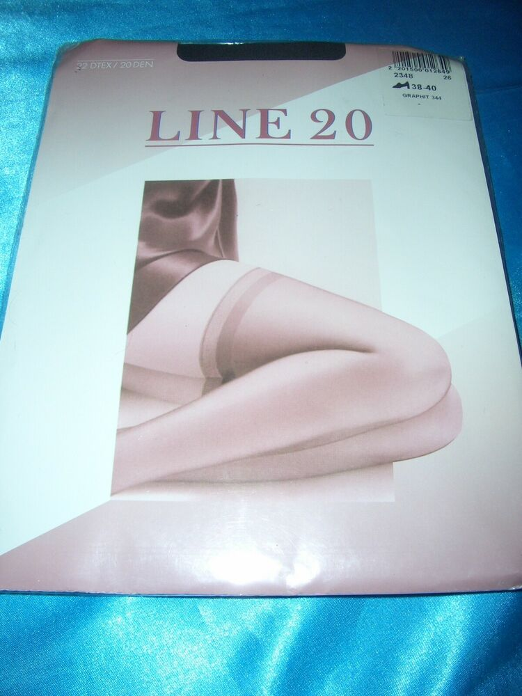 * Line 20 * Superbe Halterlose Bas Recuits Requins Taille 38-40 Graphite 20 Les Neuf Dans Sa Boîte