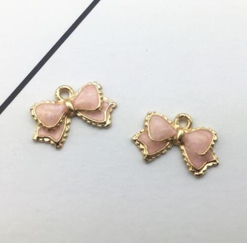 5pcs Bow shape Drip oil pendant earring Bracelet Jewelry makeing DIY Accessories