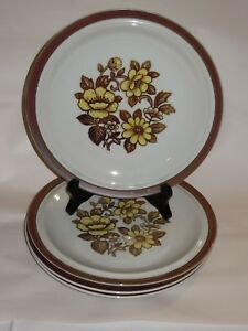 4-Sierra-Stoneware-10-1-4-034-Dinner-Plates-Brown-Yellow-Floral-Blossoms-Japan