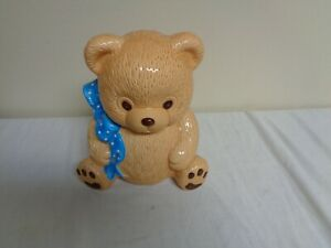 Adorable-Brown-Bear-with-Blue-Ribbon-Ceramic-Cookie-Jar
