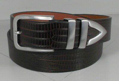 757551 ES20 Men/'s Belt Size 42 Dark Tan Lizard Print Leather Johnston /& Murphy