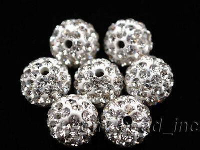 New 10mm Crystal Rhinestone Pave Clay European Bracelet Round Ball Spacer Beads