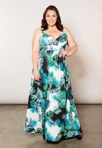 Plus-Size-Maxi-Dress-Sleeveless-Polyester-Blend-A-Line-6X-SWAK-Tropical-Blue