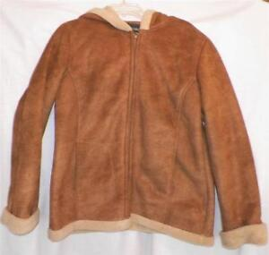 Ladies-Imitation-Suede-Jacket-Size-Large-12-14-Toffee-Fleece-Lined-Hood-Outbrook