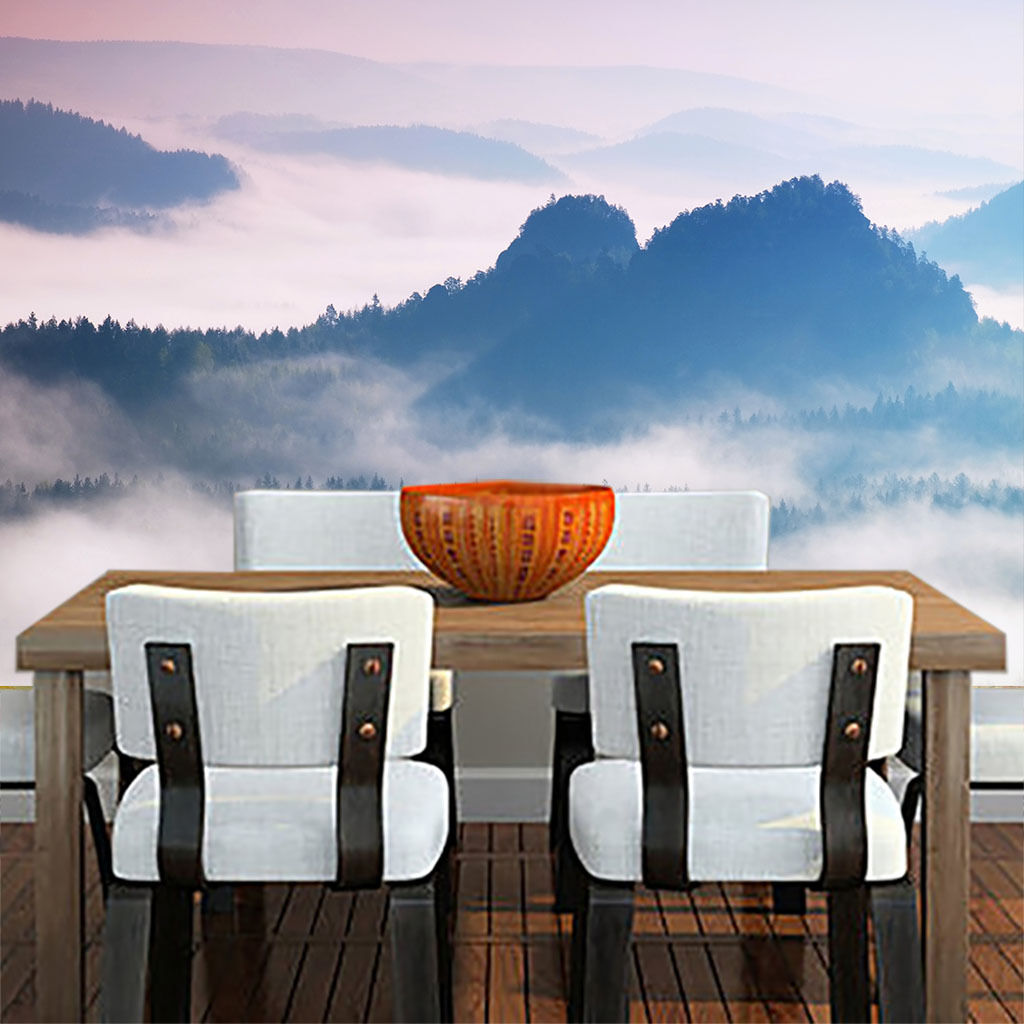 3D 3D 3D Weiß Mist Mountain Peak Paper Wall Print Wall Decal Wall Deco Indoor Murals a4cac3