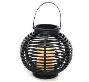 Black-Lantern-with-Led-Flickering-Candle-21cm