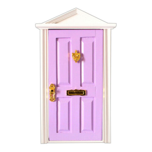 1:12 Dollhouse Wood Fairy Door Purple /& Mint Green with Metal Accessories