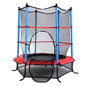 55-034-Trampoline-Youth-Round-Jumping-Exercise-Safety-Pad-Enclosure-Combo-Kids-Girf