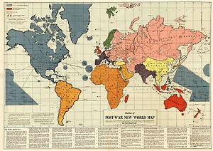 MAP-ANTIQUE-GOMBERG-1942-POST-WAR-NEW-WORLD-ORDER-REPLICA-POSTER-PRINT-PAM0906