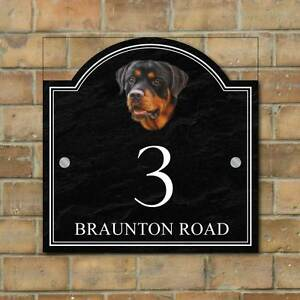 rottweiler house name sign personalised house number plaque dog