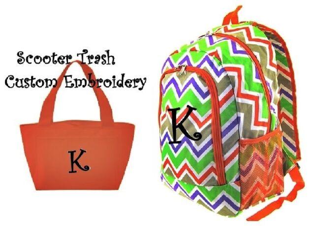 Personalized Backpack Lunch Bag Set Chevron monogram bookbag school ORANGE