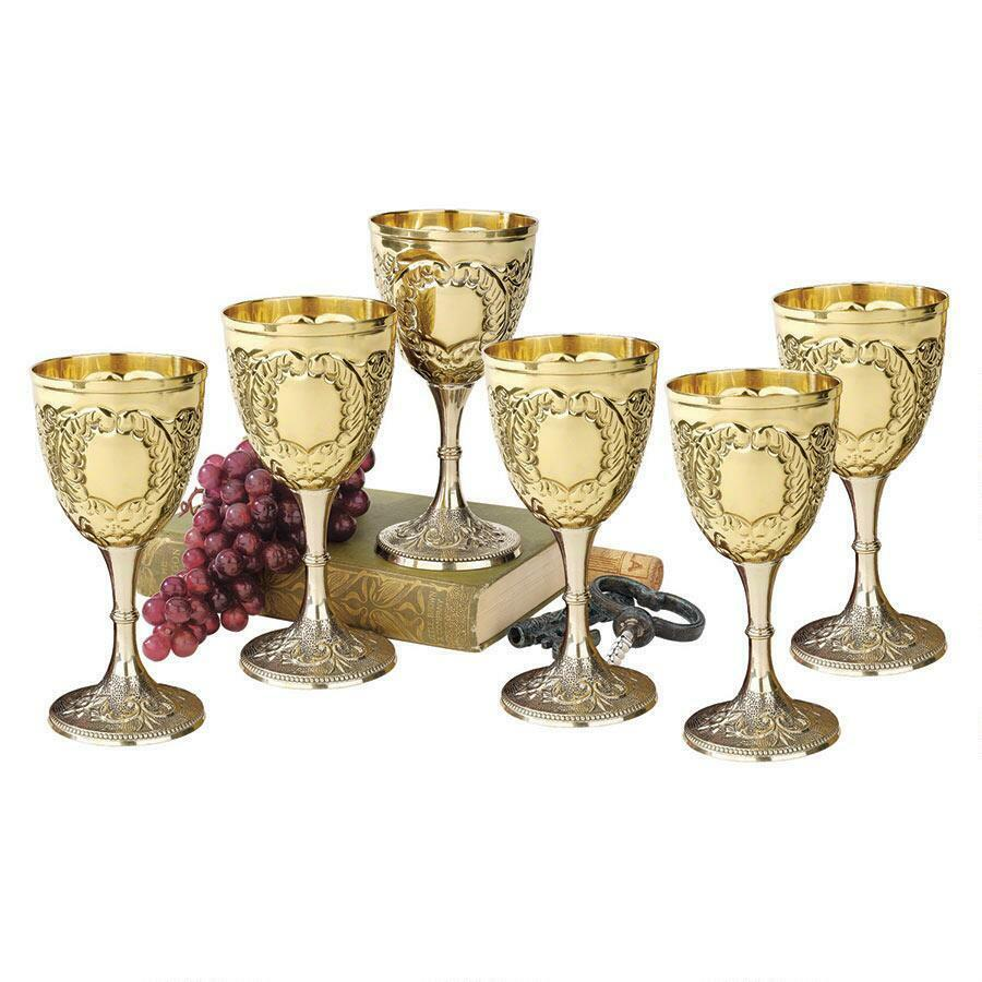 Set of 6  8oz Embossed Brass Renaissance Medieval Knights Wine Chalice Goblets