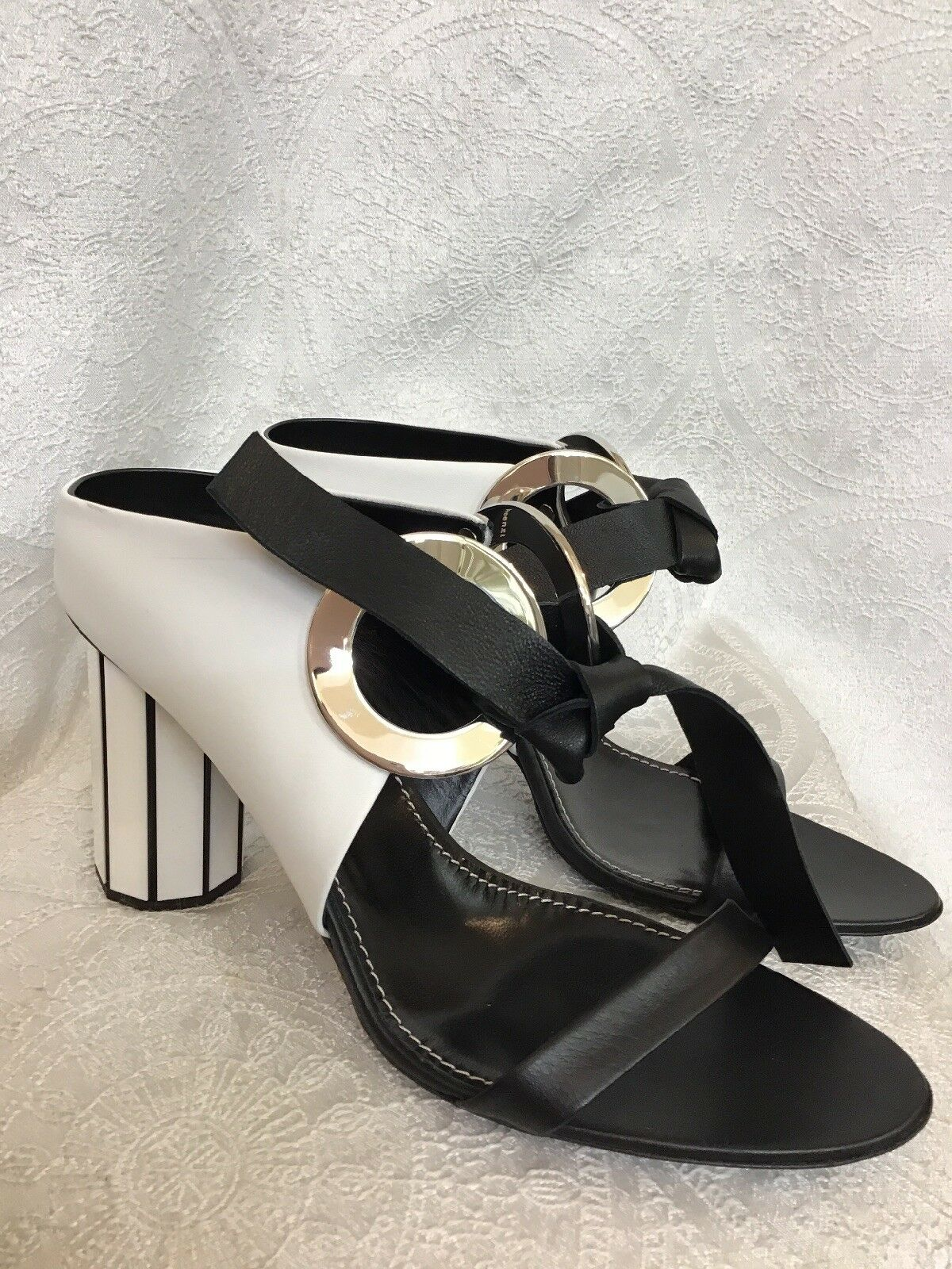 Proenza Schouler shoes Black& White Silver Ring Leather Tie RoundHeel Size 40 New