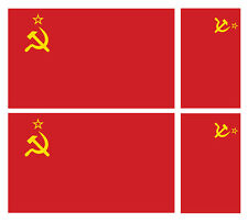 4 X USSR SOVIET UNION FLAG VINYL CAR VAN IPAD LAPTOP STICKER