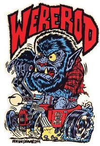 Were-Rod-STICKER-Werewolf-Hotrod-Burnout-Decal-Ben-Von-Strawn-BV34