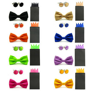 New Men Satin Dual Color Bowtie Pre-folded 4 Point Solid Pocket Square Hanky Set