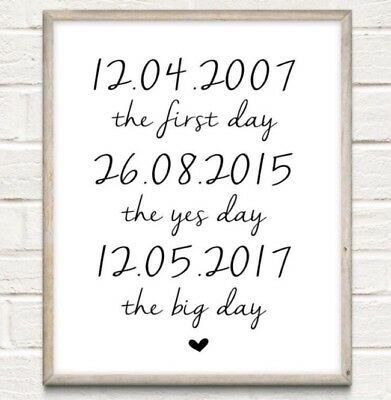 A4 Personalised Couple Names Date Typography Print Wedding Anniversary UNFRAMED