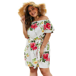 8fc8fdf8d5d Details about Plus Size Women Floral Mini Dress Off the shoulder Sundress  Party Beach Holiday