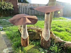 Details About Hand Carved Made Wooden Large Whitewash Garden Mushroom Mushrooms Ornament