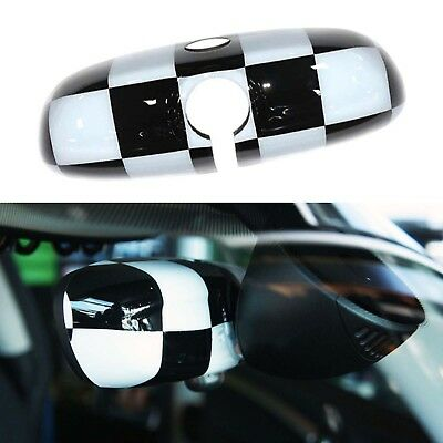 Checkered Rearview Mirror Cover Cap For Mini Cooper F54 F55 F56 F60 Countryman