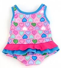 "Lovvbugg! Pink Hearts Swim Suit for 18"" American Girl & Bitty Baby Doll Clothes"