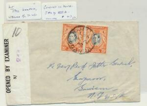 Kut-Kampala-To-USA-1942-Censure-244-Bande-Type-V111a-40c-Taux-Voir-Below