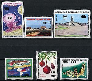 Space-Raumfahrt-1983-Benin-Denkmal-Hunde-Schaeferhund-Hotel-Baum-307-312-MNH-1084