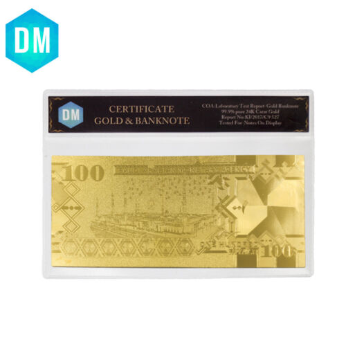 Saudi Arabia 100 24k Pure Gold Plated Golden Paper Money Gold Bank Note Gifts