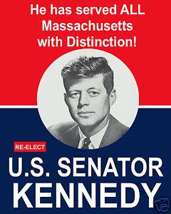 John F. Kennedy JFK for U.S. Senator 1956 Reprint Campaign Poster 11 x 14 Photo