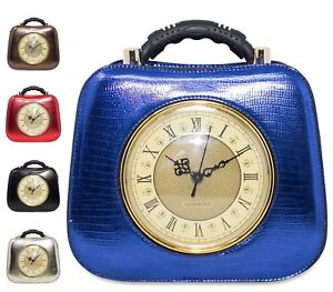 brown red Ladies Zipper Clock Round Tote Purse Handle Faux Handbag gold blue Black Boutique Top Leather 4ZOZgq