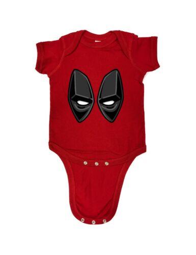 98-43 Deadpool Eyes 3D Wade Wilson Funny Baby Romper Bodysuits One Piece