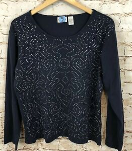 CHicos-shirt-top-womens-3-swirl-studded-sparkle-long-slv-XL-embellished-navy-P7