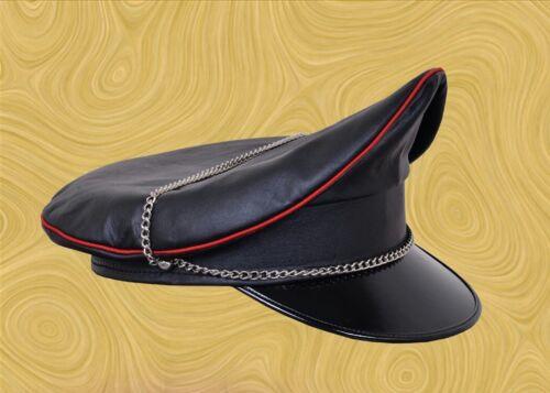 Genuine Leather Black Red Strip Army Muir Biker Peaked Gay Cap With Chain XXS-XL