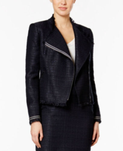 Tommy Hilfiger Asymmetrical Fringe Jacket size 0 midnight blue msrp139