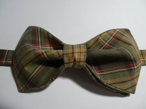 Custom Mens Brown//Green Plaid Bow Tie Pretied Adjustable Wedding,Gift 4 Him