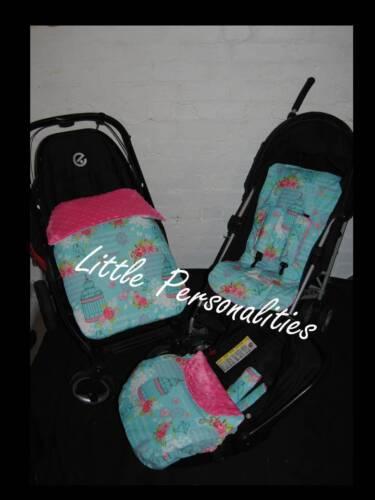 pink blue bird cage birds flower rose  pram//stroller stay put blanket or liner