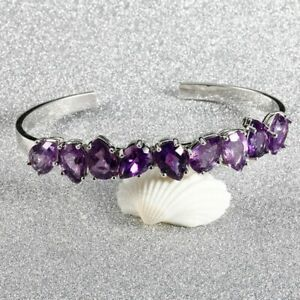Fashion-Sterling-Silver-925-Natural-Pear-Amethyst-Bracelet-Bangle-Women-Jewelry