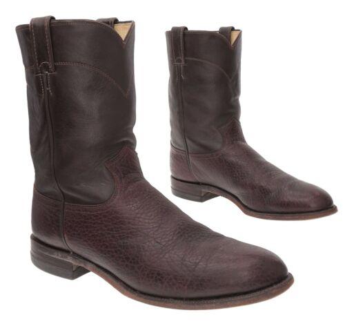JUSTIN Cowboy Boots 11.5 D Mens Vintage BULLHIDE L