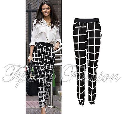 Ladies Celebrity Michelle Keegan Monochrome Check Harem Pants Trousers