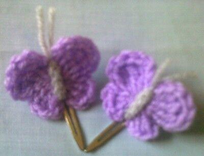 Foxy Flowers 2 Hand Crochet Lilac Butterflies - Alligator Hair Clips