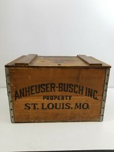 Details About Vintage Anheuser Busch Since 1876 Wooden Beer Crate Budweiser Box Case