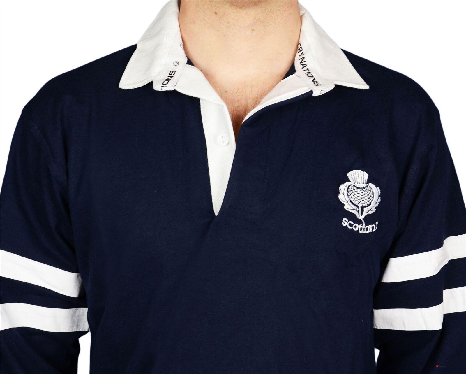 Mens  Scottish Rugby Shirt 2 Stripe Stripe Stripe and Thistle Long Sleeve Navy Medium  | Export  9110b5