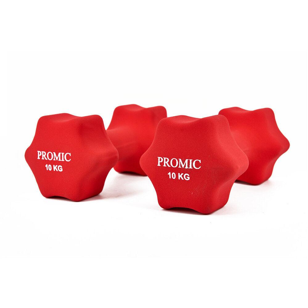 Promic 2x 10kg LEVE in NEOPRENE PESI per ginnastica Manubri Corti rosso