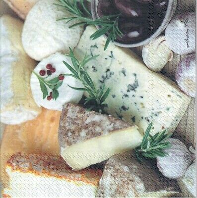 4 Single paper decoupage napkins Cheese board garlic  -779 country cheese