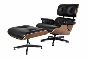 emod eames style lounge chair amp ottoman reproduction black leather