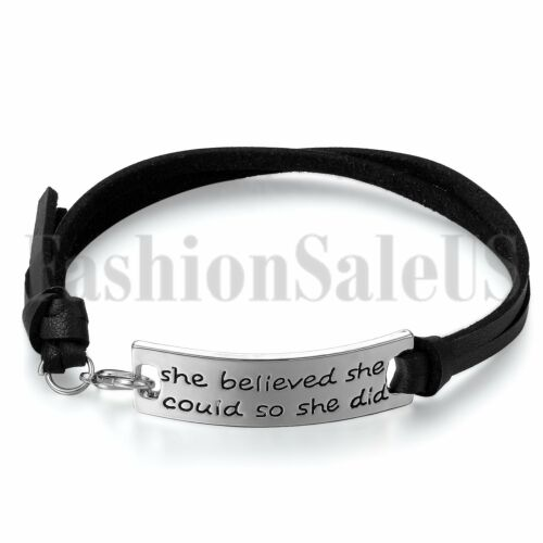 Women/'s elle croyait qu/'elle pourrait donc elle ne Cuir Inspiration Bracelet Jonc