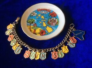 Vintage Sterling Silver Ruby Hawaii Molokai Island Bracelet Charm 50/'s